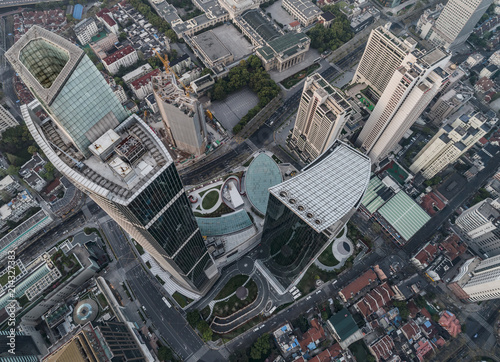 Foto op Plexiglas New York TAXI Aerial View of business area and cityscape in west Nanjing road, Jing`an district, Shanghai