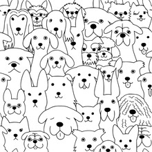 Seamless Doodle Dogs Line Art Background