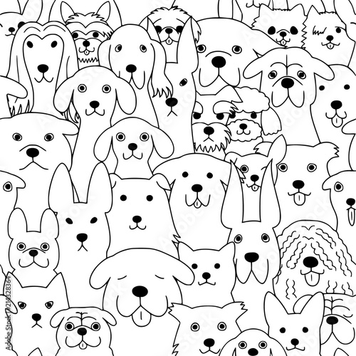 plakat seamless doodle dogs line art background