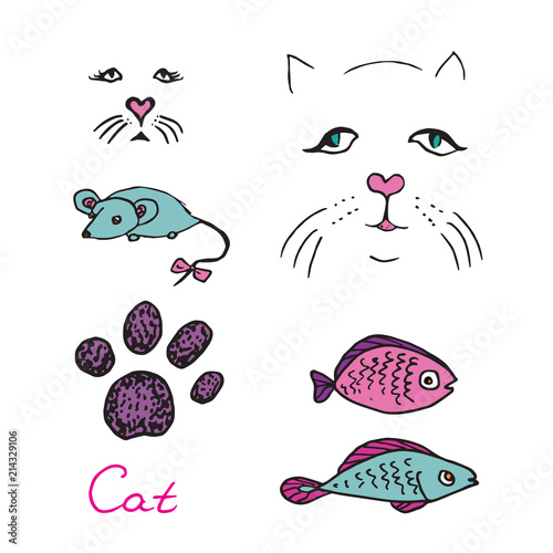 Cat set, paw print and faces, mouse and fish colorful toys