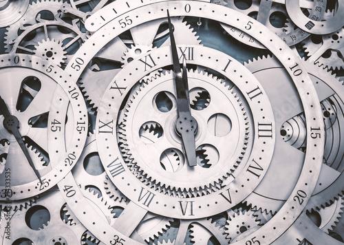 Obraz A metal gear in a clock. - fototapety do salonu