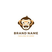 Monkey Chimp Geek Smart Charm Mascot Character Logo Template Vector Icon