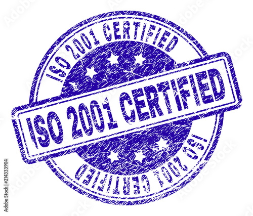 Fotografia  ISO 2001 CERTIFIED stamp seal watermark with grunge texture