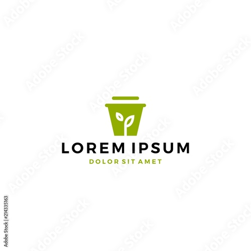 Fototapety, obrazy: leaf shoots sprout pot bucket logo icon vector template