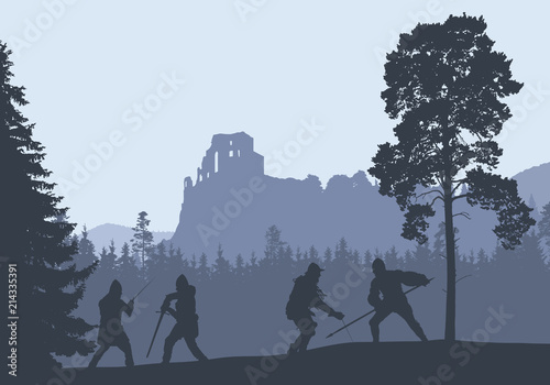 Fototapeta Silhouettes of four warriors fighting in a forest under the ruins of a medieval castle obraz
