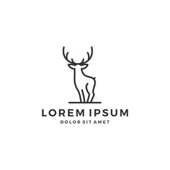 outline deer line art logo vector icon template illustration