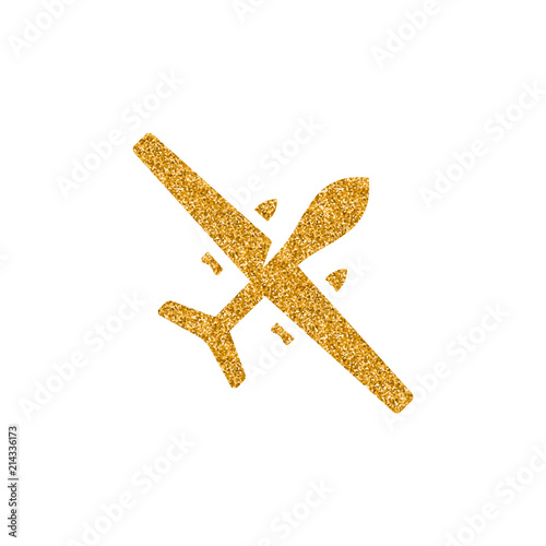 Unmanned aerial vehicle icon in gold glitter texture плакат