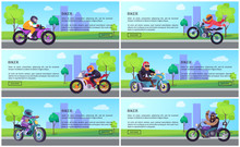 Bikers Bike Work Day Web Onine Posters Set, Promo