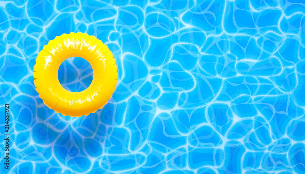 Fototapeta Water pool summer background with yellow pool float ring. Summer blue aqua textured background