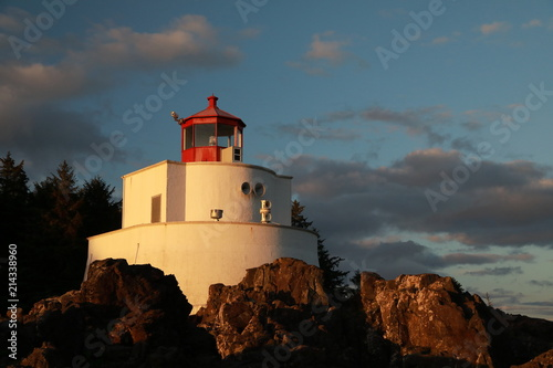 Amphitrite Point Lighthouse near Uclulelet, Vancouver island, British Columbia Canada