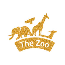 Zoo Gate Icon In Gold Glitter ...