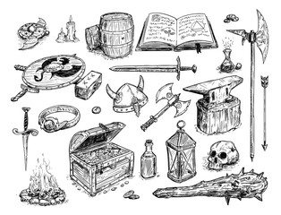 Vector artistic pen and ink doodle drawing illustration of set of fantasy objects or prop, mostly weapons and magic items.