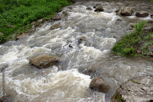 Valokuva  Cloudy turbulent water. Mountain stream after rain.