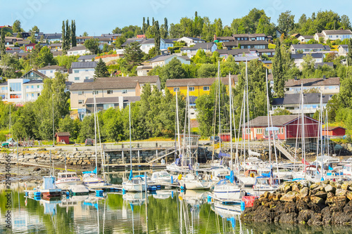 City on the water Small town Levanger, Norway
