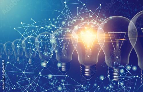 Photo  digital internet network data with creative idea light bulb for business technol