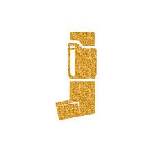 Asthma Inhaler Icon In Gold Gl...