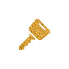 Key Icon In Gold Glitter Texture. Sparkle Luxury Style Vector Illustration.