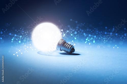 lampadina, luce, particelle, informatica Canvas Print