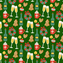 Christmas Vector Seamless Pattern Background For Greeting Card Winter New Year Celebration Design.
