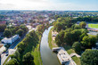 Green areas around river in the city in Europe