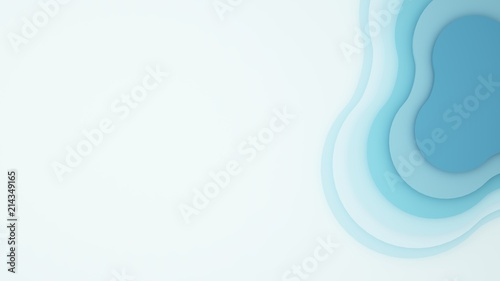 Poster Abstract wave Artwork blue wave and empty space for add message - 3D Illustration
