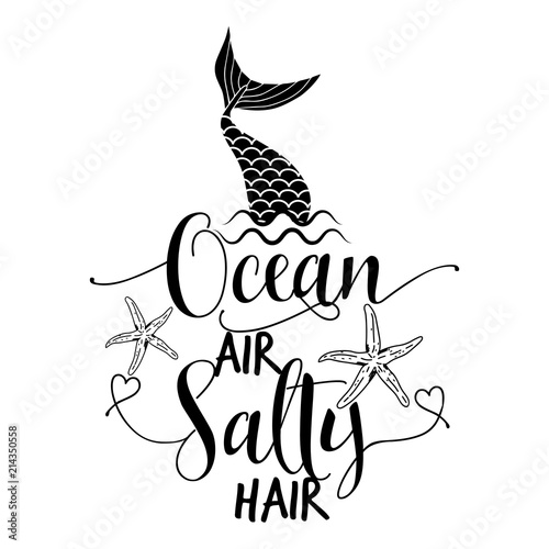 Ocean Air Salty Hair Funny Motivation Quotes In Vector Eps
