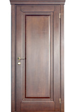 Wooden Interior Door Of Mahogany Wood With Brass Handle And Geometric Ornament Carving Isolated On White