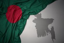 Waving Colorful National Flag And Map Of Bangladesh.