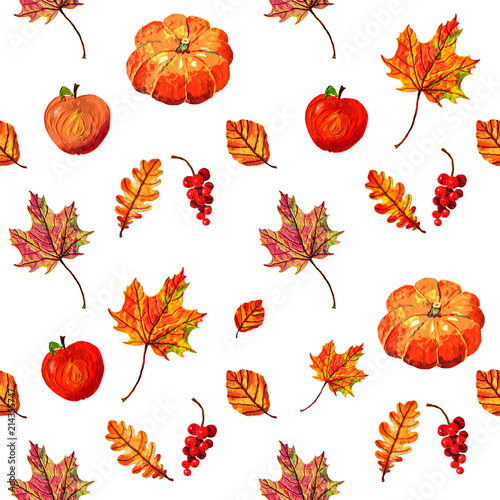 Seamless Pattern With Apples Pumpkins Autumn Berries And