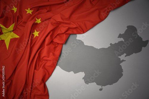 waving colorful national flag and map of china. Fototapete