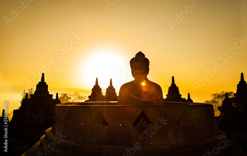 Borobudur Temple at day time Yogyakarta Java Indonesia..