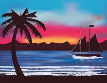 Tropical Wallpaper With Sailin...