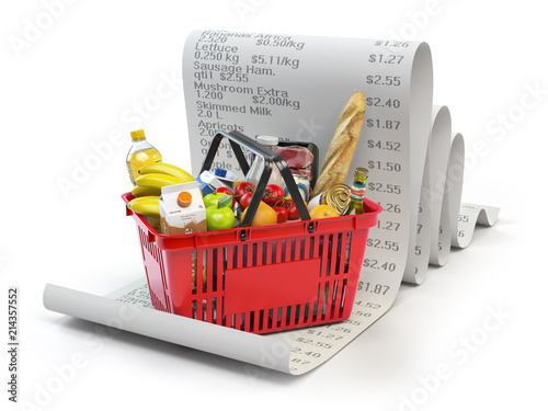 Poster Grocery expenses budget and consumerism concept. Shopping basket with foods on the receipt isolated on white.