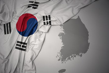 Waving Colorful National Flag And Map Of South Korea.