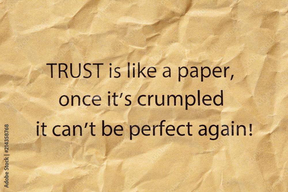 Fototapeta Trust Is Like A Paper Once Its Crumpled