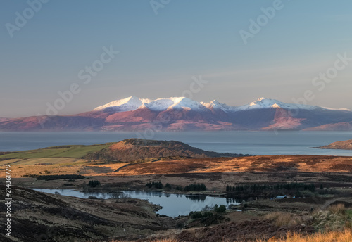 Early Morning Winter Light on Arran Hills Scotland Wallpaper Mural