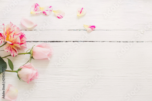 roses on white wooden background