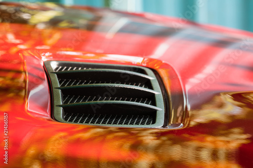 Photo red car bonnet
