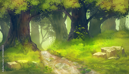 Leinwand Poster forest painting background