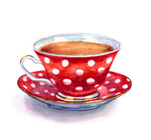 Red Tea Cup With Polka Dots, W...