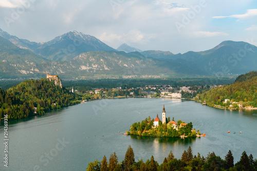 Fototapeta Beautiful view of Lake Bled from Ojstrica Hill View Point, Slovenia obraz na płótnie