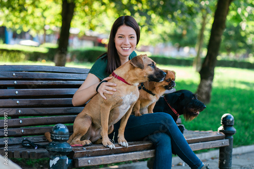Fotografía Dog walker sitting on bench and enjoying in park with dogs.