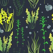 Set Of Underwater Green Sea Se...