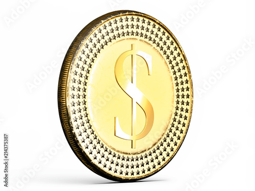 Fotografie, Obraz  Close-up on a Dollar coin in gold on white background