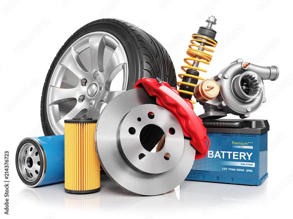 Fototapeta Set of car parts. 3d render