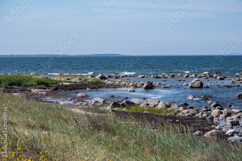 Spoed Foto op Canvas Khaki rocky sea beach with waves and sunny day