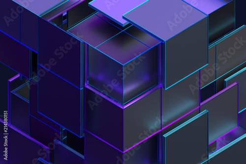 Abstrakcjonistyczny 3d rendering geometryczni kształty. Kompozycja z kwadratami. Projekt kostki. Nowoczesne tło dla plakatu, okładki, marki, baner, afisz.