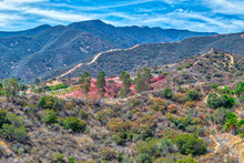 Fire Retardant Covers Hills In Southern California Mountains After Recent Wildfire Threatened Community