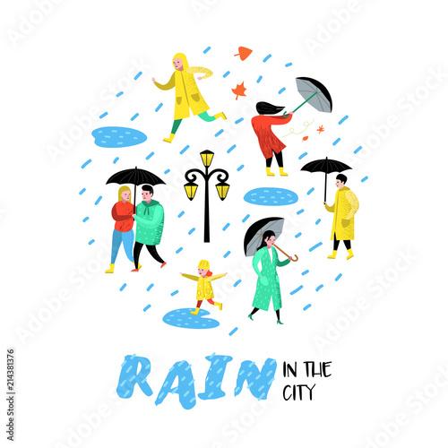 In de dag Ridders Characters People Walking in the Rain. Cartoons in Raincoats with Umbrella. Autumn Rainy Weather, Fall Season. Vector illustration