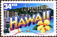 Greetings From Hawaii Postcard On Postage Stamp